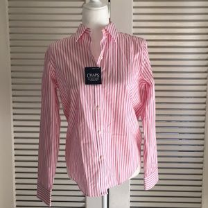 Chaps pink and white bottom down shirt